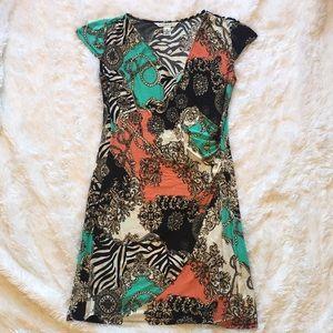 Cap Sleeve Stretchy Wrap Dress, 8